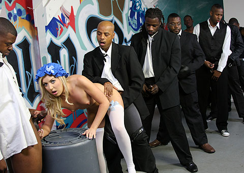 Callie Cobra fucked and bukkaked by several black men from Bro Bang