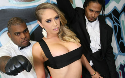 Big boobed Kagney Linn Karter gets her pretty face jizzed by black Dude from Bro Bang