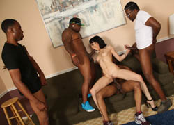 Tattooed babe Asphyxia Noir enjoys her interracial gang bang on brobang blog