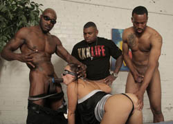 Blindfolded girl Jamie Jackson fucks with blacks on brobang blog